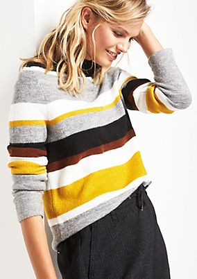 Soft knit jumper with a striped pattern from comma