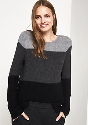 Strickpullover mit Colourblock-Muster