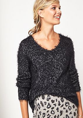 Knitted jumper in cosy shaggy yarns from comma