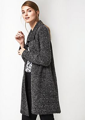 Long cardigan with a bouclé pattern from comma