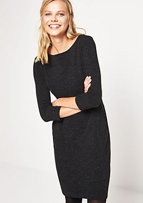 Elegant 3/4-length sleeve dress in a ribbed look from comma