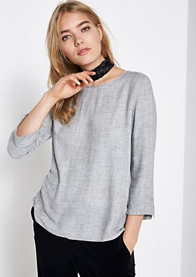 3/4-sleeve flannel blouse with sophisticated details from comma
