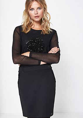 Delicate long sleeve mesh top with sequin embellishment from comma