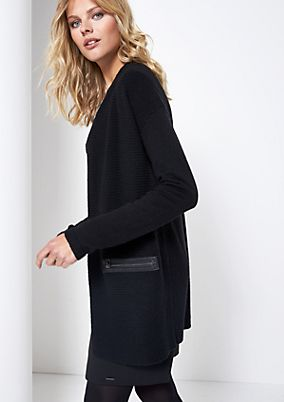 Long warm cardigan in a ribbed look from comma