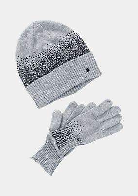 Handschuh/Strickmützen-Set mit Paillettenverzierungen