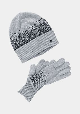 Hat & gloves set with sequin embellishment from comma