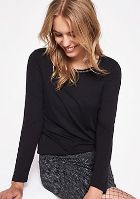 Long sleeve top with sparkling bar bead decoration from comma