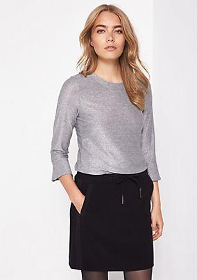 3/4-sleeve top in glittery yarn from comma