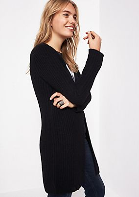 Long cardigan with a ribbed pattern from comma