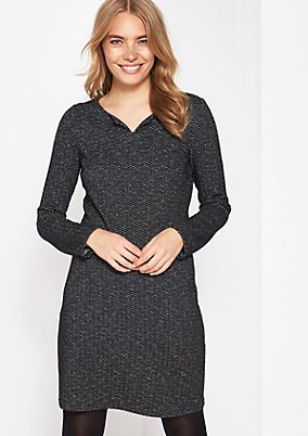 Casual dress with a herringbone pattern from comma