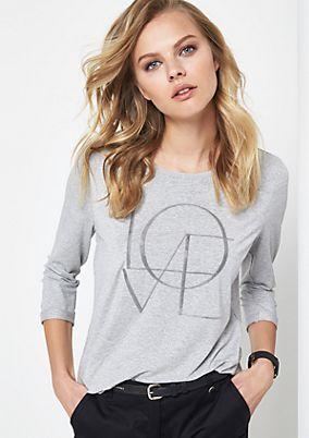 Jerseyshirt mit glitzernder Zierstein-Applikation