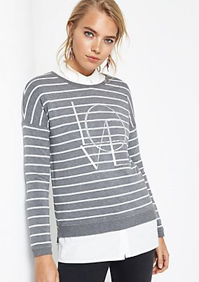 Striped sweatshirt with a shiny print from comma