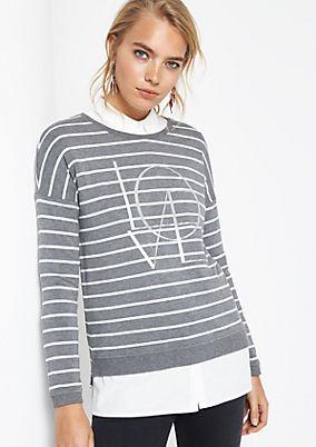 Streifensweater mit Glanzprint