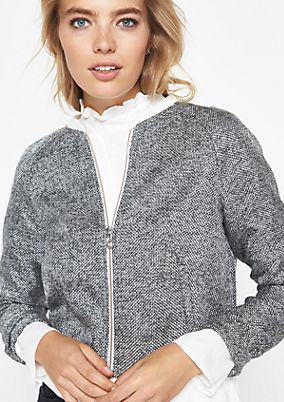 Bomber jacket with a trendy salt & pepper pattern from comma