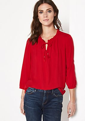 Casual 3/4-sleeve blouse with decorative frills from comma