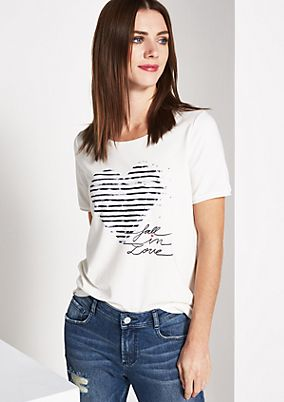 Short sleeve jersey T-shirt with a statement print from comma