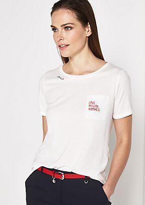 Jersey-Kurzarmshirt mit Brusttasche