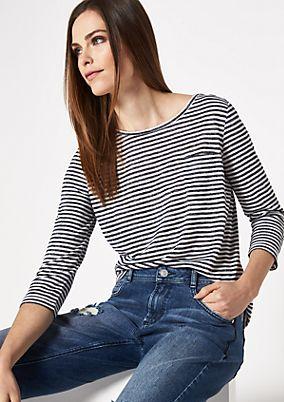 3/4-Arm Streifenshirt mit Brusttasche