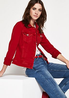 Coloured denim jacket with sophisticated details from comma