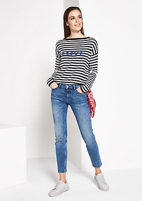 Striped jumper with statement embroidery from comma