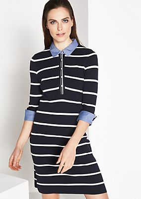 Knitted dress with 3/4-length sleeves in a sporty stripe look from comma