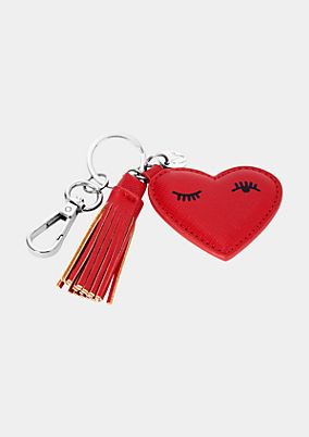 Heart-shaped faux leather key ring from comma