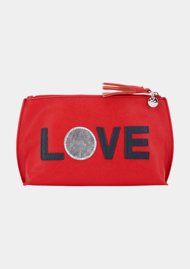 Casual make-up bag with a front statement from comma