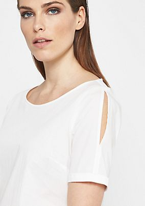 Simple short sleeve blouse with sophisticated cut-outs from comma