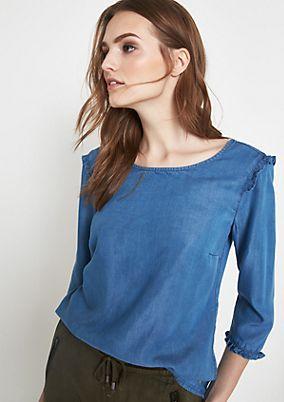 3/4-Arm Jeansbluse mit Rüschenverzierungen