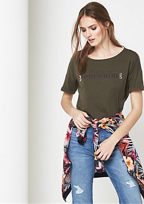 Jersey short sleeve T-shirt with a statement print from comma