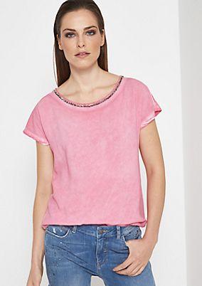 Jersey-Kurzarmshirt mit glitzerndem Zierstäbchenbesatz