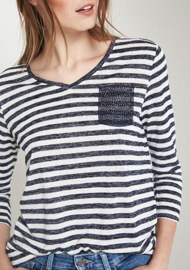 Leichtes 3/4-Arm Shirt mit Streifenmuster