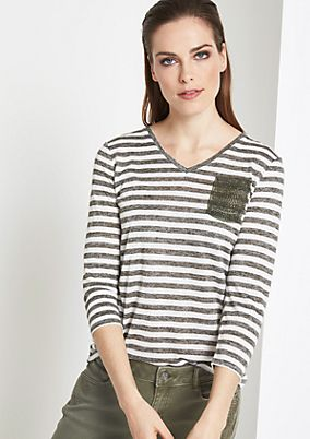Lightweight striped top with 3/4-length sleeves from comma