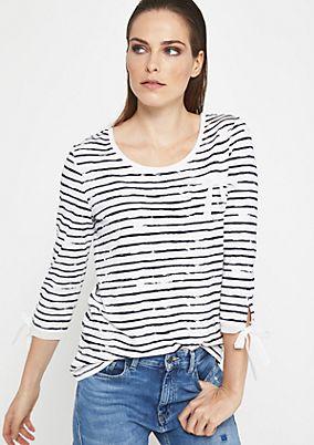 3/4-Arm Jerseyshirt mit lässigem Streifenmuster