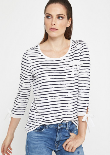 3/4-sleeve jersey top with a casual stripe pattern from comma