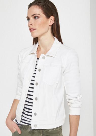 Weiße Jeansjack mit Ton-in-Ton Floralstickereien