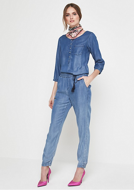 Lightweight denim jumpsuit with a vintage wash from comma