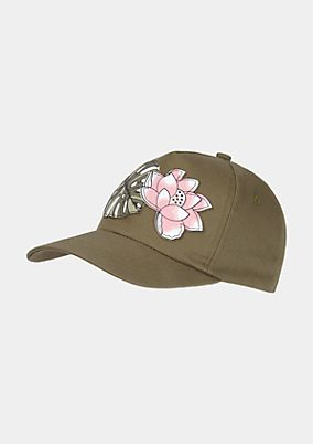 Baseball cap with a floral appliqué from comma
