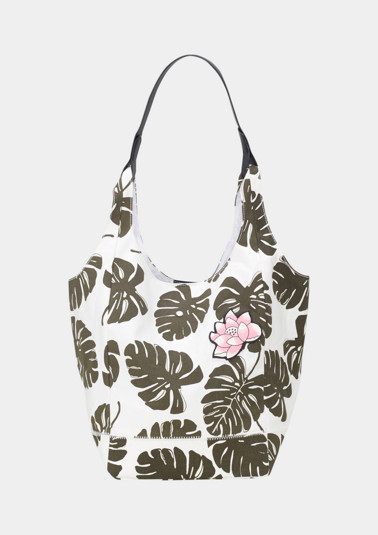 Shopping Bag aus Segeltuch mit Floral-Alloverprint