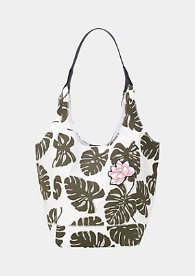Canvas shopping bag with an all-over floral print from comma