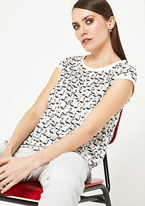 Blouse top with an all-over print from comma