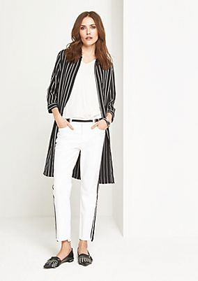 3/4-sleeved shirt blouse with vertical stripes from comma