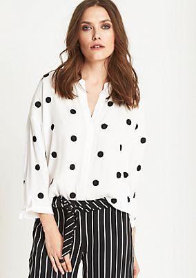 3/4-Arm Bluse mit Dot-Stickereien