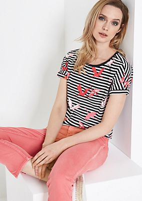 Jersey top with stripes from comma