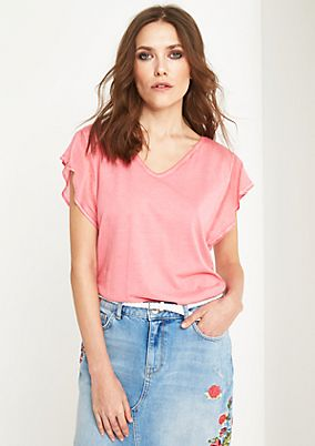 Casual jersey short sleeve top in a vintage finish from comma