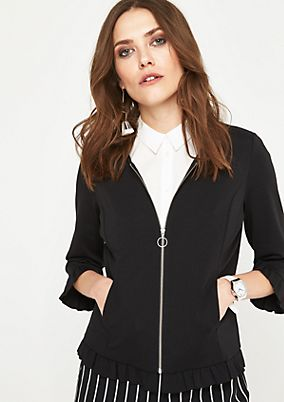3/4-length sleeved sweatshirt jacket with decorative frills from comma