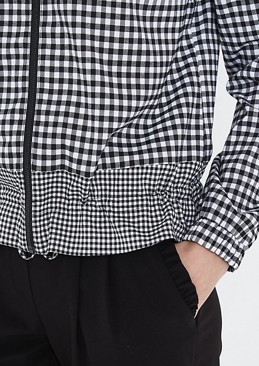 Lightweight bomber jacket in a check look from comma