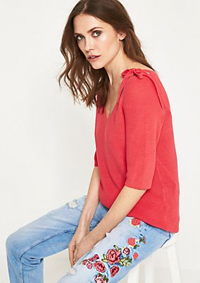 Short-sleeved knitted jumper with decorative cut-outs from comma
