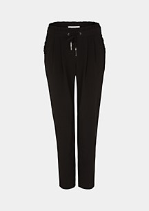 Loose-fitting cloth trousers with a ruffle waistband from comma
