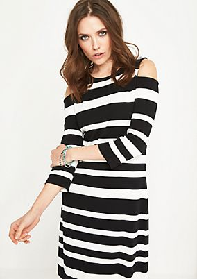 Cold-shoulder stretch dress with stripes from comma